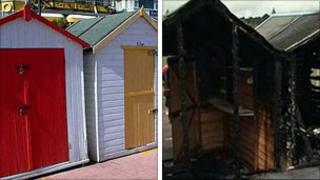 Preston beach huts before (l) and after the fire
