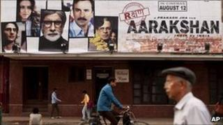 A billboard for the Bollywood film Aarakshan (Reservation) in Delhi on Thursday, 11 August 2011