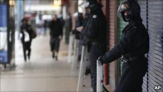 Police on guard in Salford precinct