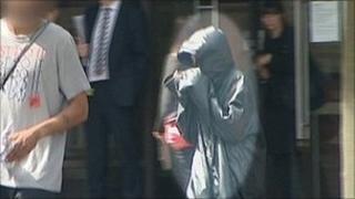 Girl leaving court
