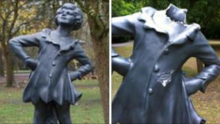 Statue before and after vandalism