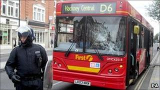 A bus which came under attack in Hackney