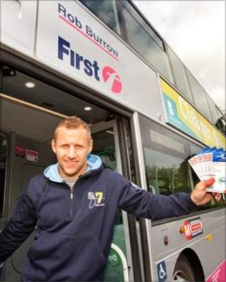 Rob Burrow with the bus named after him