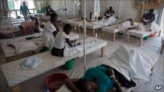 Cholera sufferers in a treatment centre in Mirebalais, Haiti, 25 July 2011