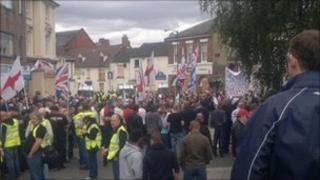 English Defence League members gather in Wellington