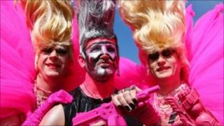 Revellers at Pride