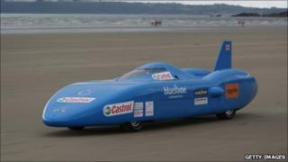The Bluebird is given a trial run at Pendine Sands on Saturday