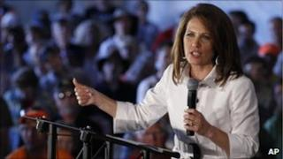 Michele Bachmann speaks at the Iowa straw poll (13 Aug 2011)