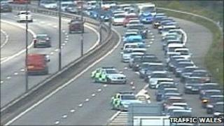 Traffic Wales camera image of junction 43