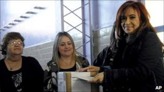 Argentine President Cristina Fernandez casting her vote