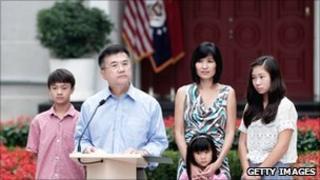 Gary Locke and family meet the media