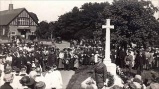 Saltwood War Memorial dedication in 1921