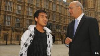 Asyraf Haziq with Keith Vaz outside Parliament