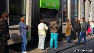 People queuing at a job centre