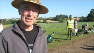 Dr Will Bowden from the University of Nottingham at Caistor St Edmund Roman town dig in Norfolk