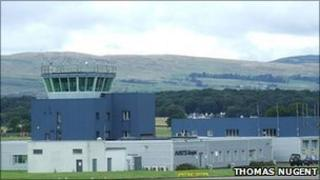 National Air Traffic Services control tower at the east side of Glasgow Airport