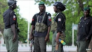 The security forces photographed in Nigeria's north-eastern city of Maiduguri