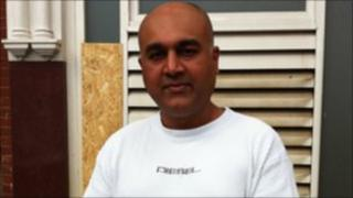 Ravi Khurmy, who owns a supermarket that was set alight in Ealing,