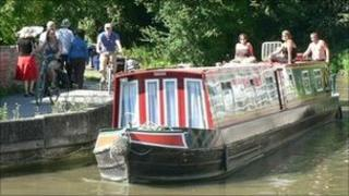 A narrow boat on a canal