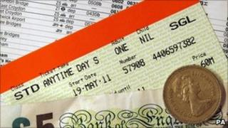 Rail ticket, timetable and cash