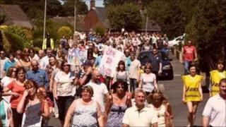 Protest march over Argoed High School in Mynydd Isa.