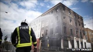 Damage after rioting in Croydon