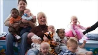 Mothers and toddlers at a group helped by a LCF grant