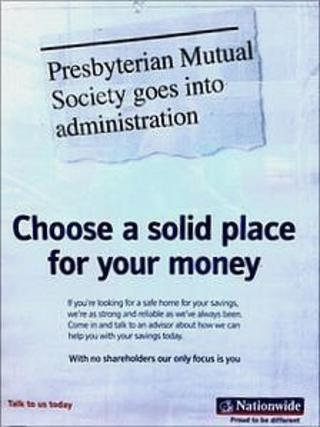 An image of the Nationwide Building Society advert on display at a Belfast city centre branch