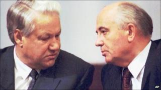 Boris Yeltsin, left, and Mikhail Gorbachev