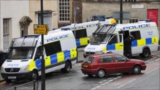 Police vans in Park Row