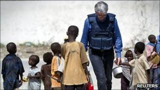 Andrew Mitchell visits a camp for displaced people in Mogadishu