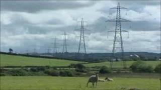 Electricity pylons on Anglesey