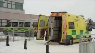 Ambulance at Ysbyty Gwynedd in Bangor during the cold snap