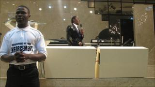 Chris Okotie preaching at his church in Lagos, Nigeria
