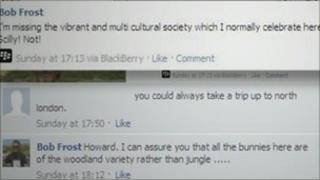 Screen grab of Facebook
