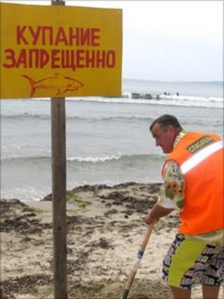 Man digs shark sign into sand in Russia's Maritime Territory