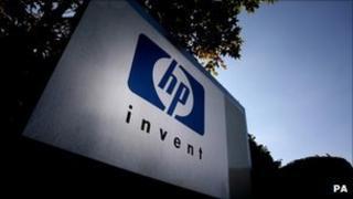 Hewlett-Packard sign outside its UK headquarters