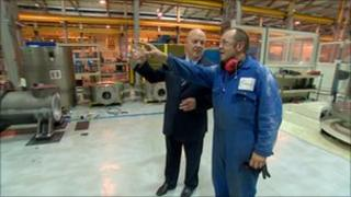 Jim McColl (left) at his Clyde Union factory in Cathcart, Glasgow