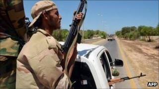 Libyan rebel fighters west of Tripoli - 18 August 2011