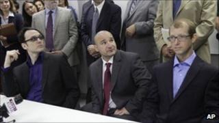 Damien Echols, left, Jessie Misskelley, Jr, centre, and Jason Baldwin