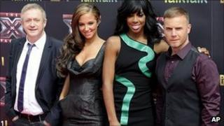 X Factor judges (left-right): Louis Walsh, Tulisa Contostavlos, Kelly Rowland and Gary Barlow