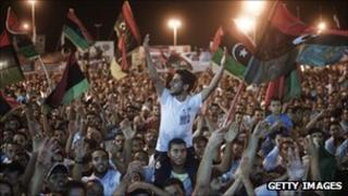 Libyan rebels celebrating