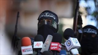 PRC militants speak in 22 August 22, 2011 in , Gaza