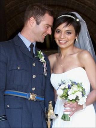 Flt Lt Jon Egging & Dr Emma Egging on their wedding day