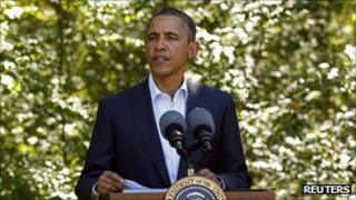 President Barack Obama addresses the situation in Libya during a break from his vacation