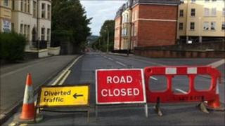 Road closed sign, Northland Road, Derry