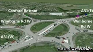 Artist's impression of how the new Canford Bottom roundabout may look when the work is finished.