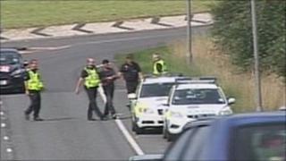 Police arrest the suspect on the A69 near Brampton