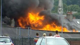 A fire at the former Jewson site in Bangor, Gwynedd
