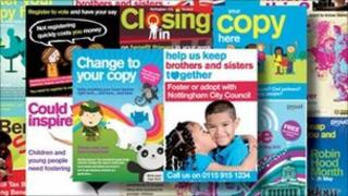 Collection of images of Nottingham County Council campaigns